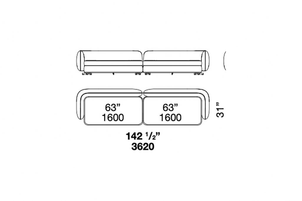 """line drawing and dimensions for poliform saint germain straight sofa 142 1/2"""""""