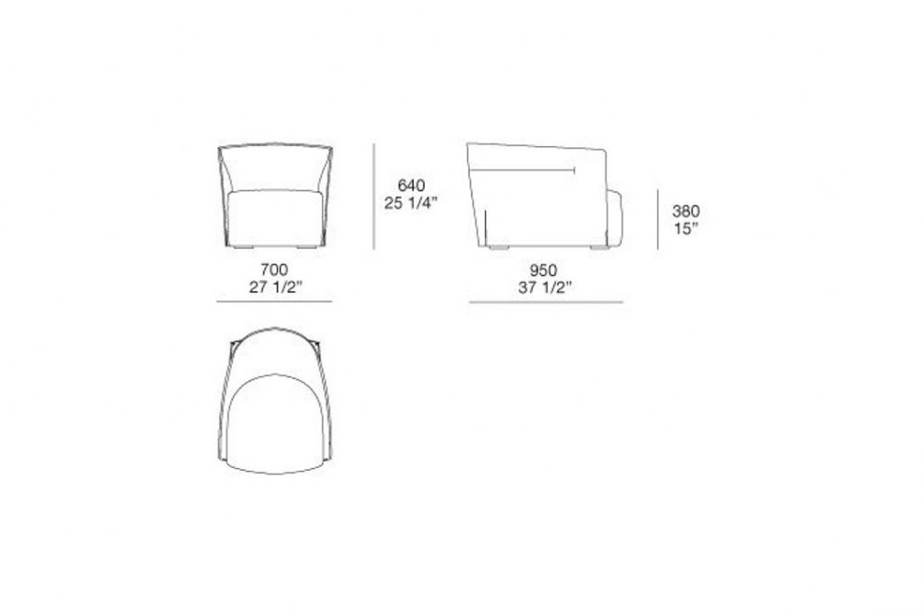line drawing and dimensions for a poliform santa monica armchair