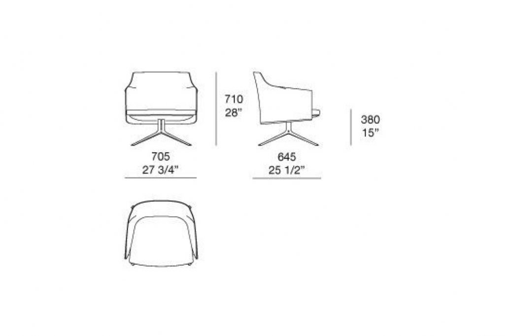 line drawing and dimensions for poliform stanford armchair