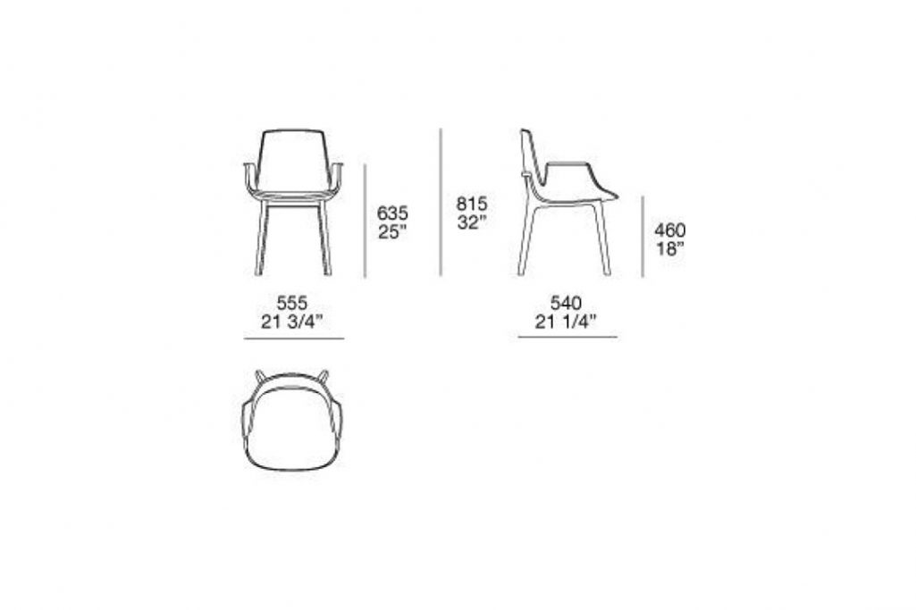 line drawing and dimensions for poliform ventura dining arm chair
