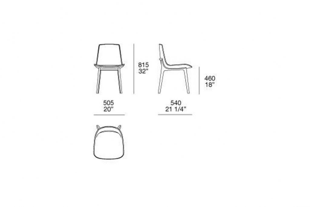 line drawing and dimensions for poliform ventura dining chair