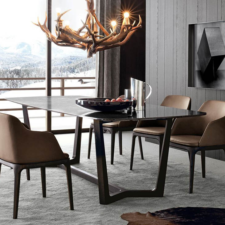 modern dining room featuring poliform grace dining chairs