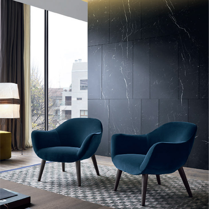 two poliform mad armchairs in situ