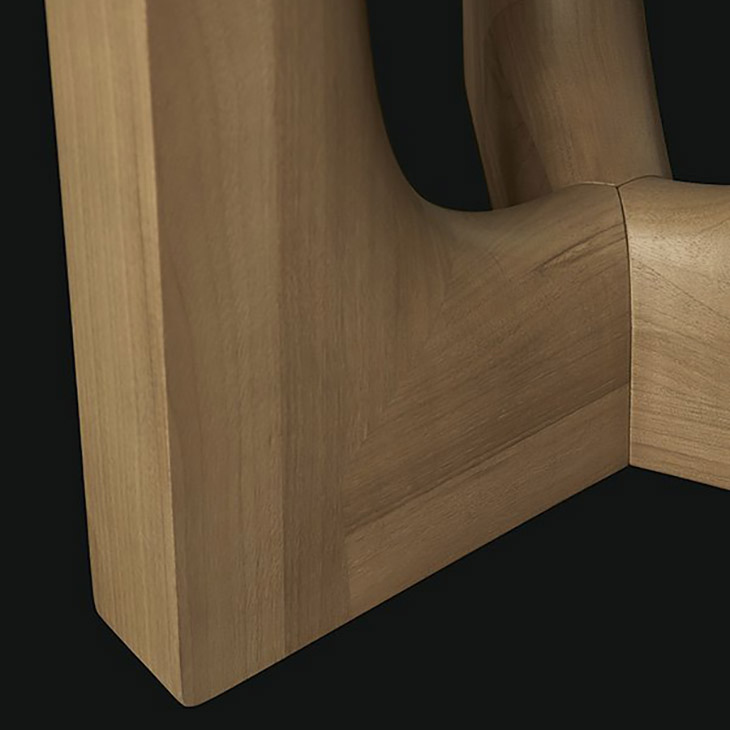 detail of two poliform nara side table in hickory walnut gold