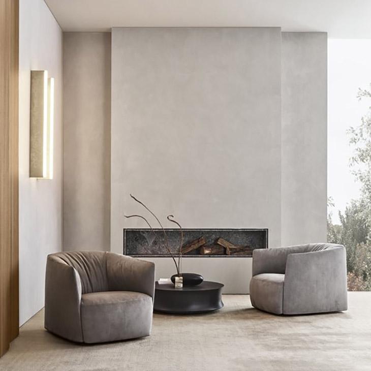 two poliform santa monica armchairs in situ