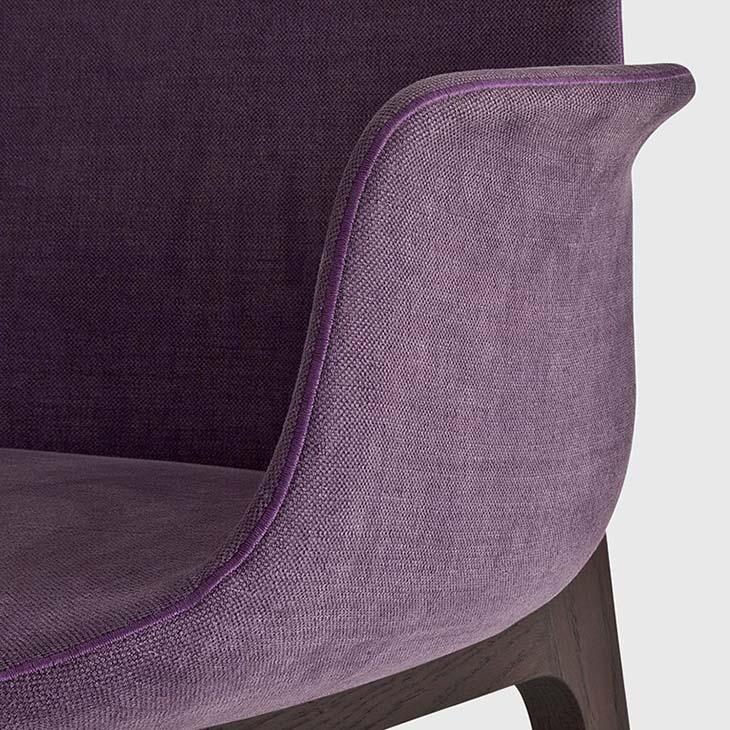 stitching detail on a poliform ventura dining arm chair