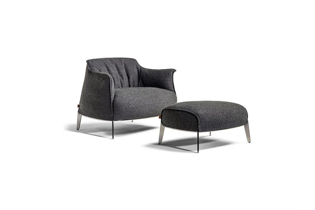poltrona frau archibald gran comfort armchair and ottoman in fabric