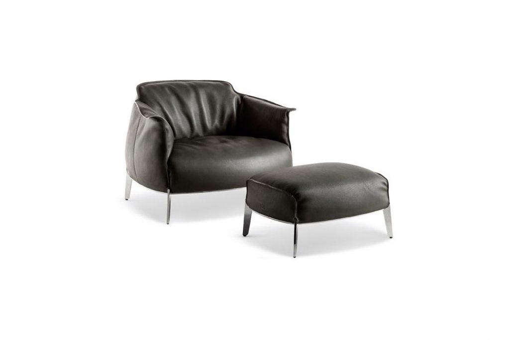 poltrona frau archibald gran comfort armchair and ottoman in leather