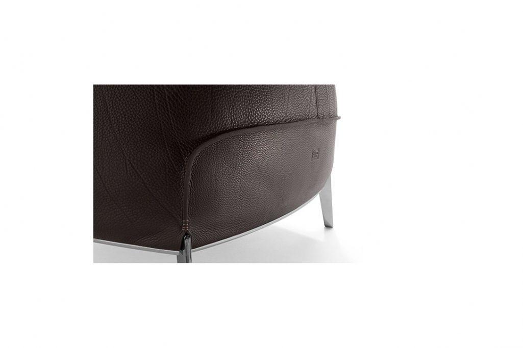 leg detail on a poltrona frau archibald gran comfort armchair in leather