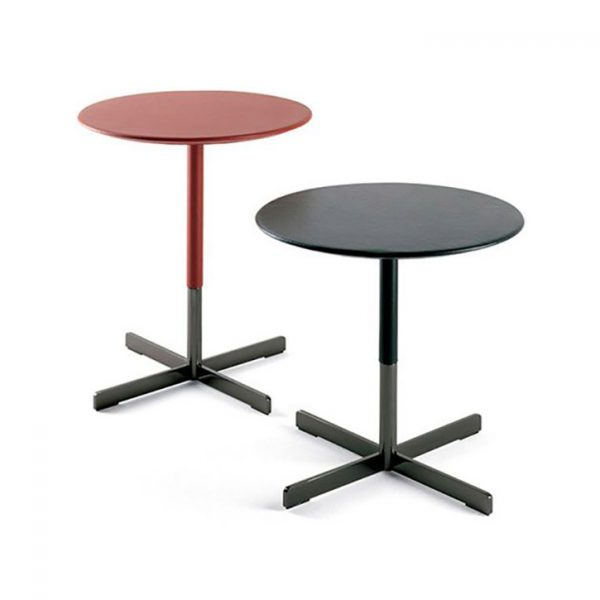 bob side table leather top and gunmetal grey steel base