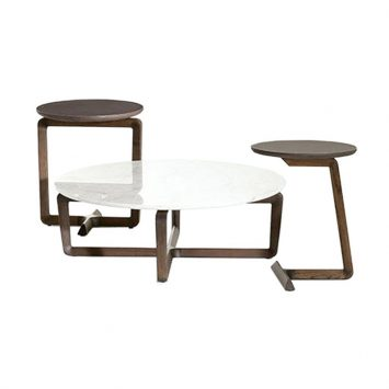 poltrona frau fidelio side tables and coffee table on a white background