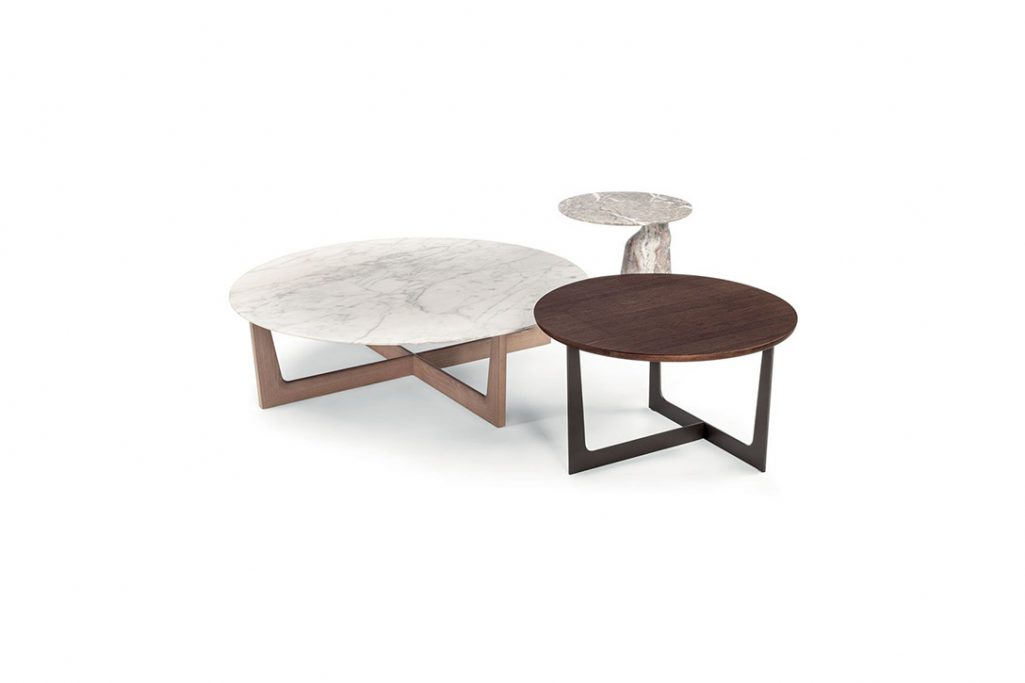 poltrona frau ilary coffee tables and monolithic side table on a white background