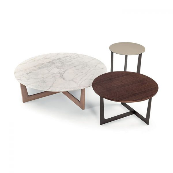poltrona frau ilary coffee tables and side table on a white background