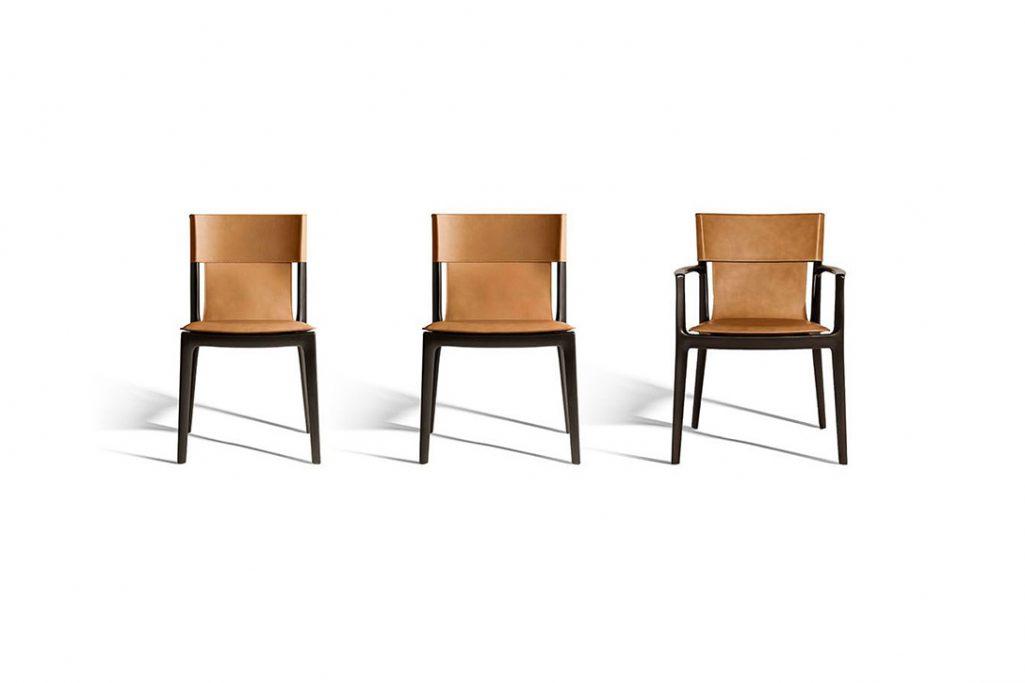 poltrona frau isadora dining chair, isadora large dining chair, and isadora dining arm chair