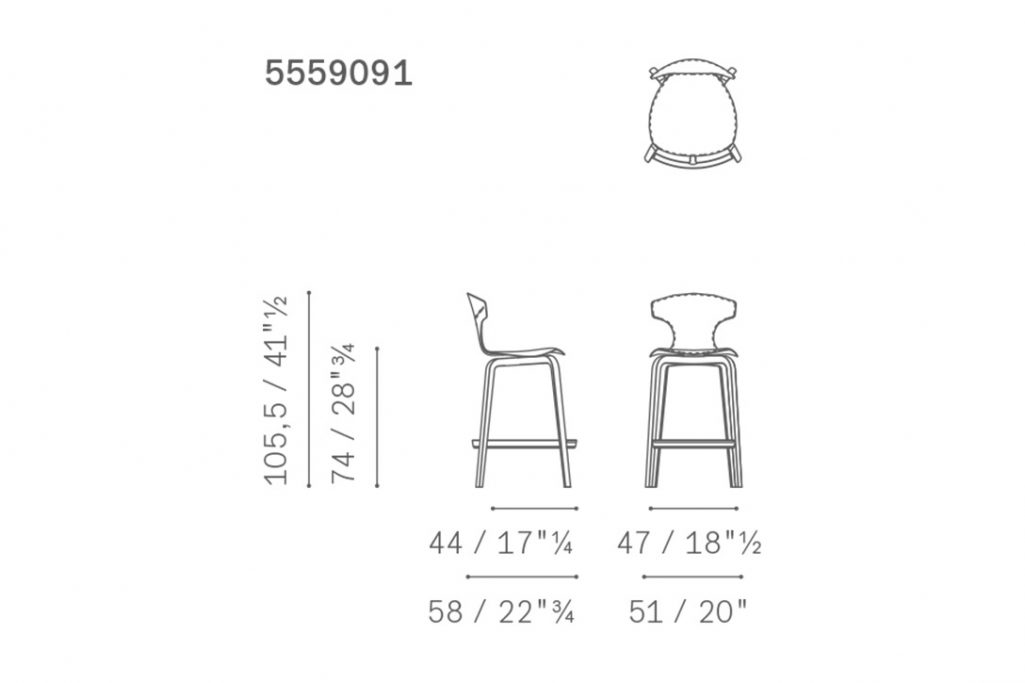 line drawing and dimensions for poltrona frau montera bar stool