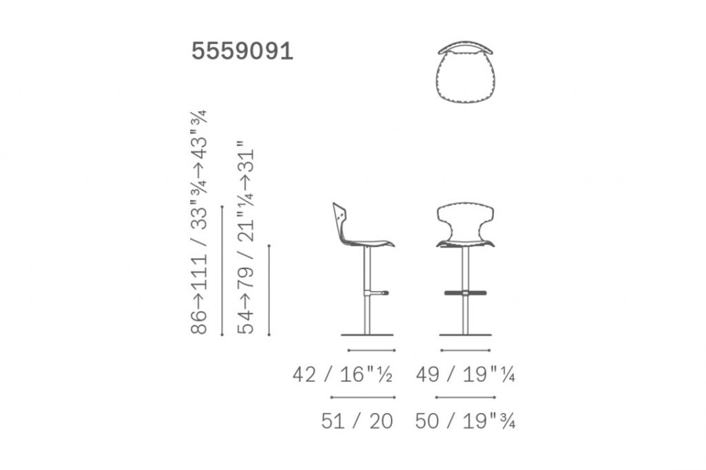 line drawing and dimensions for poltrona frau montera column-base stool