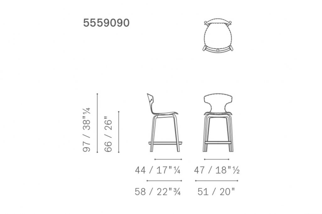 line drawing and dimensions for poltrona frau montera counter stool