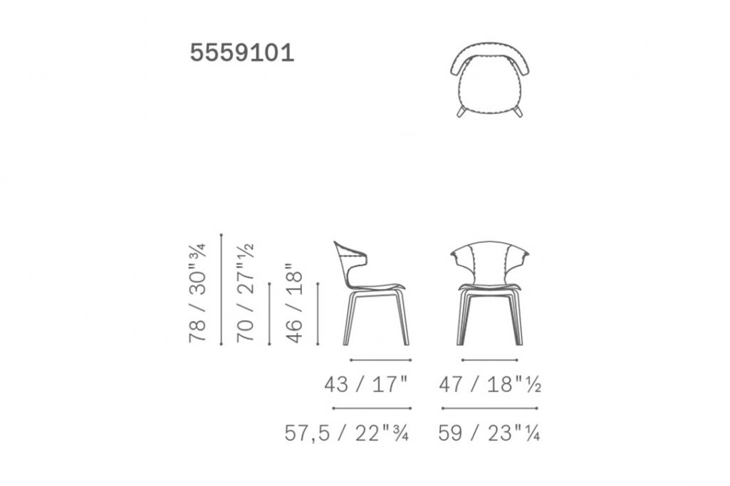 line drawing and dimensions for poltrona frau montera dining arm chair