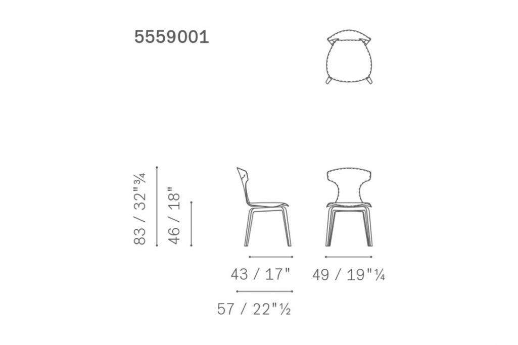 line drawing and dimensions for poltrona frau montera dining chair
