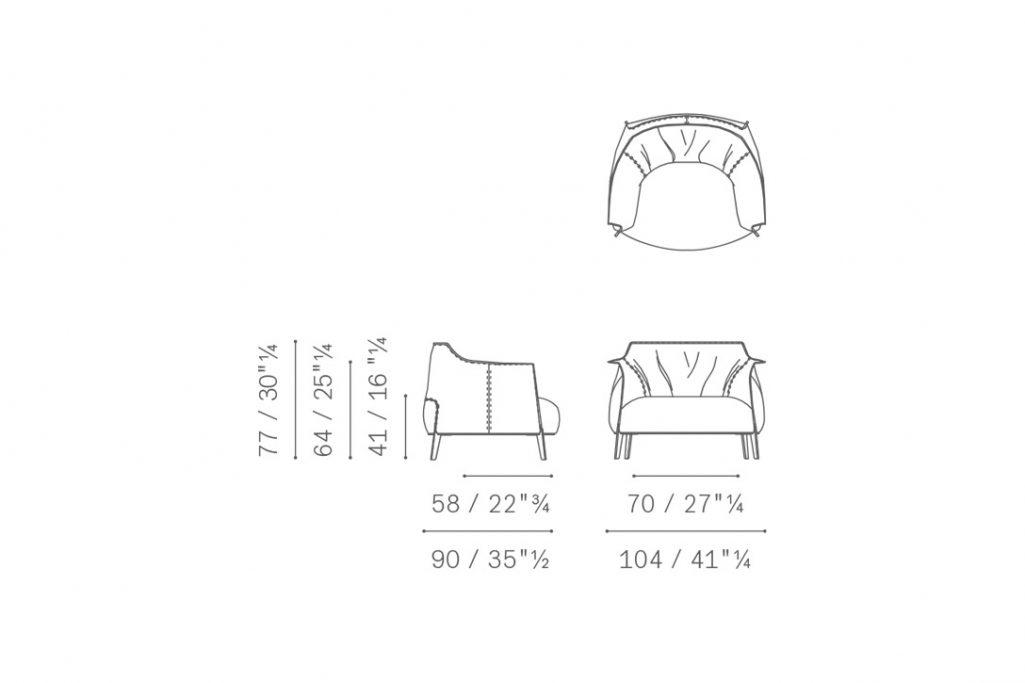 line drawing for a poltrona frau archibald gran comfort armchair