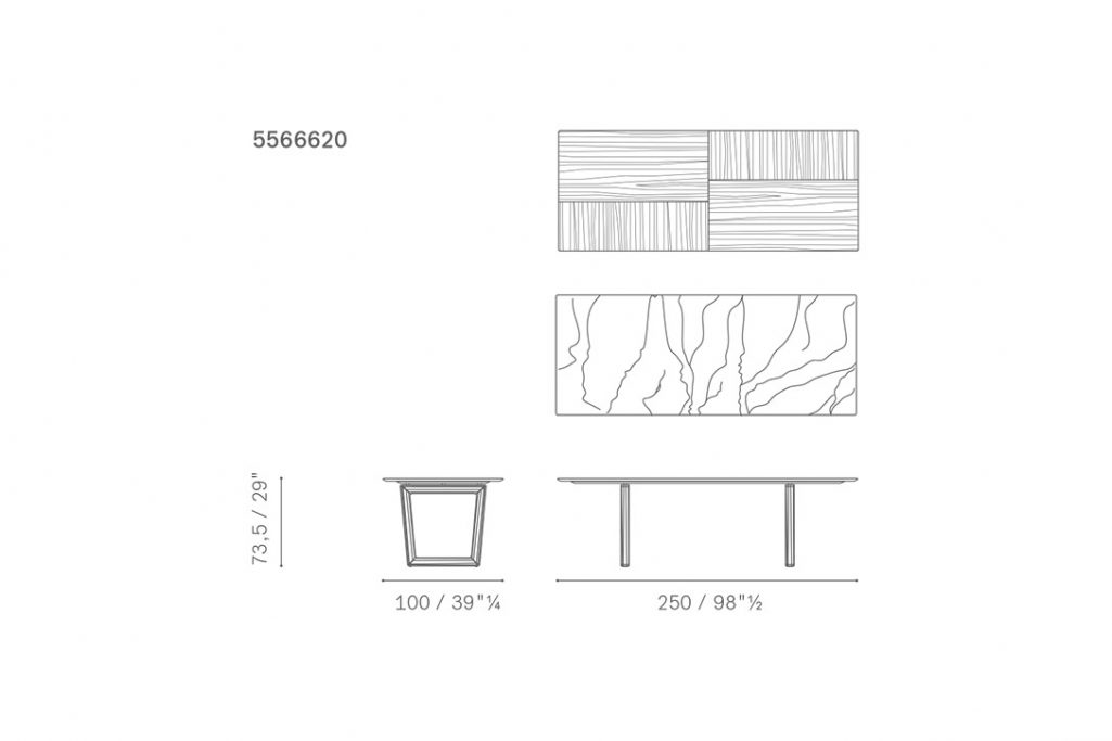 line drawing and dimensions for poltrona frau bolero dining table