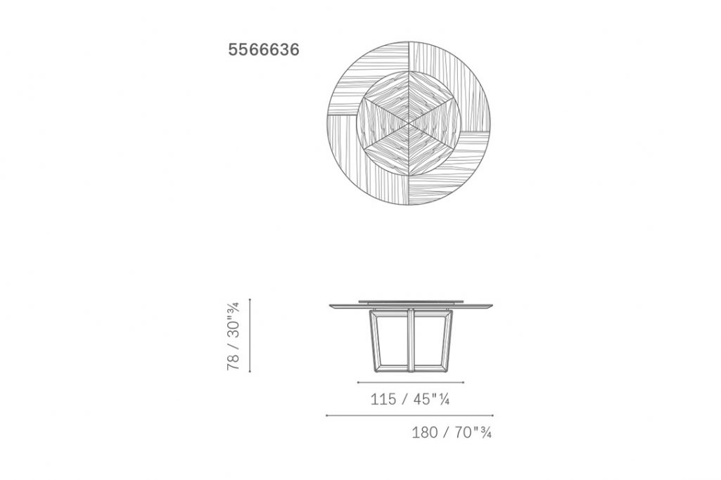 line drawing and dimensions for poltrona frau bolero dining table with lazy susan