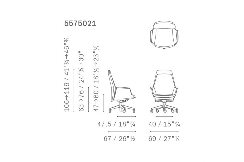 line drawing and dimensions for poltrona frau downtown chair executive