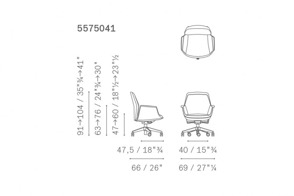 line drawing and dimensions for poltrona frau downtown chair managerial