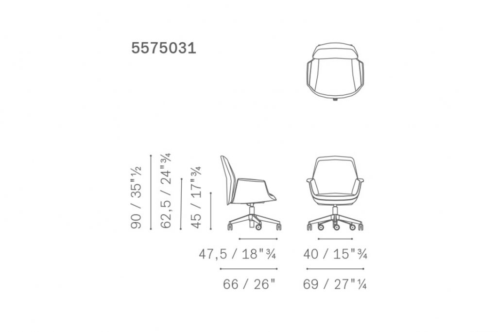 line drawing and dimensions for poltrona frau downtown chair meeting