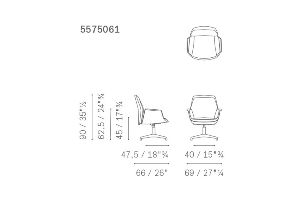 line drawing and dimensions for poltrona frau downtown chair visitor