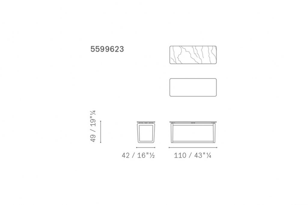 line drawing and dimensions for a poltrona frau fidelio coffee table rectangular