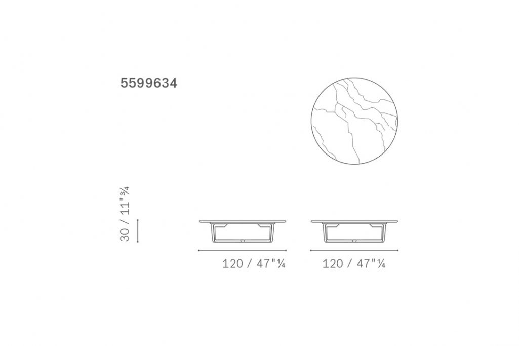 line drawing and dimensions for a poltrona frau fidelio coffee table round