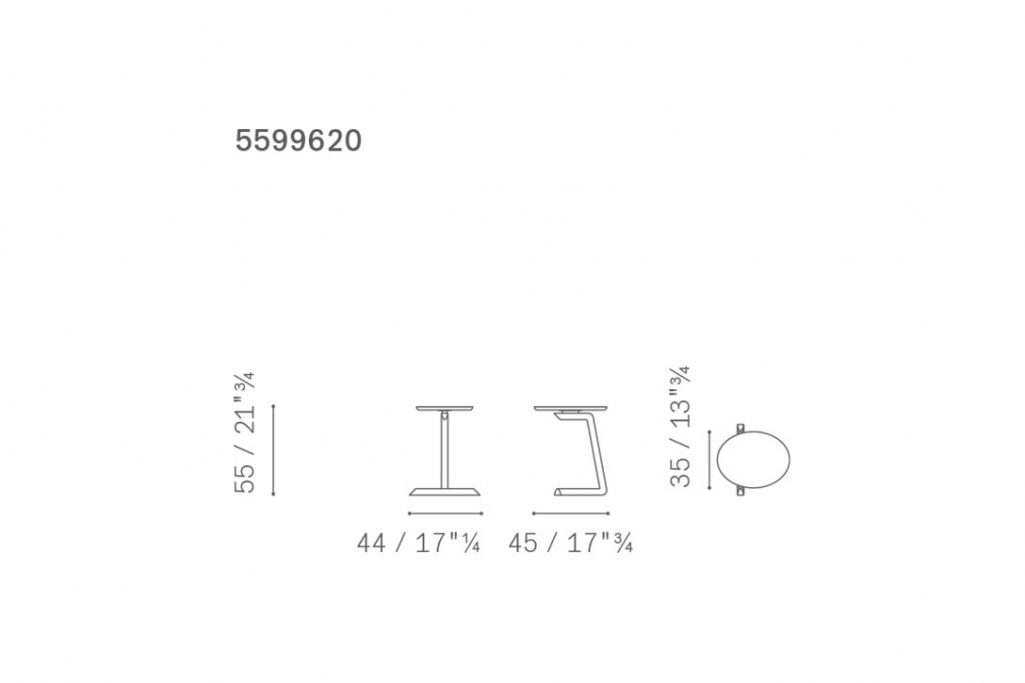 line drawing and dimensions for a poltrona frau fidelio side table elliptic