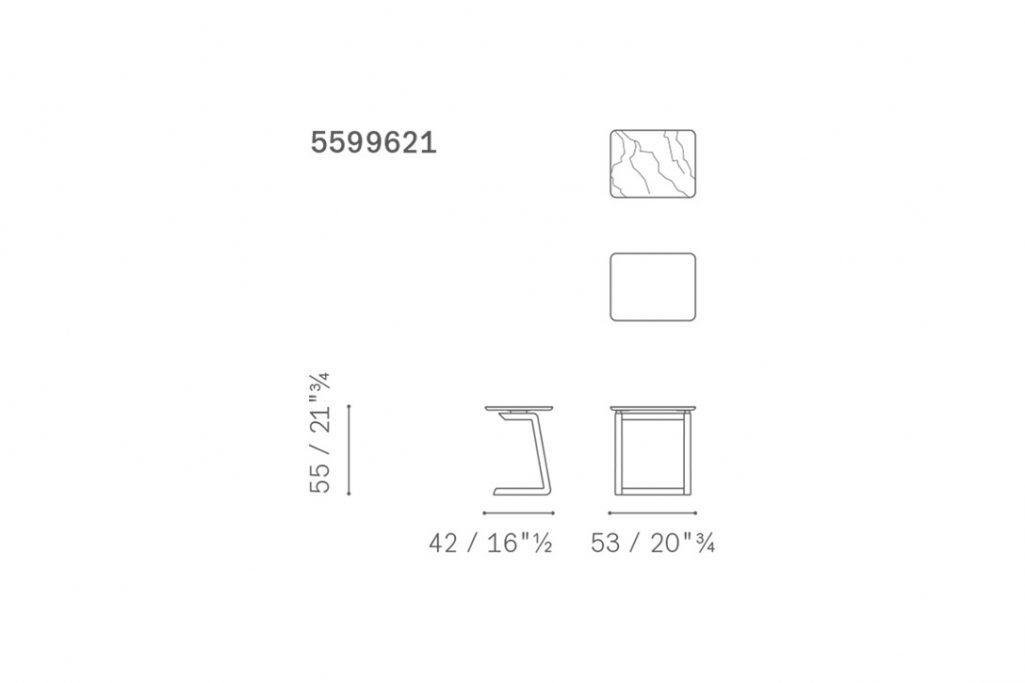 line drawing and dimensions for a poltrona frau fidelio side table rectangular
