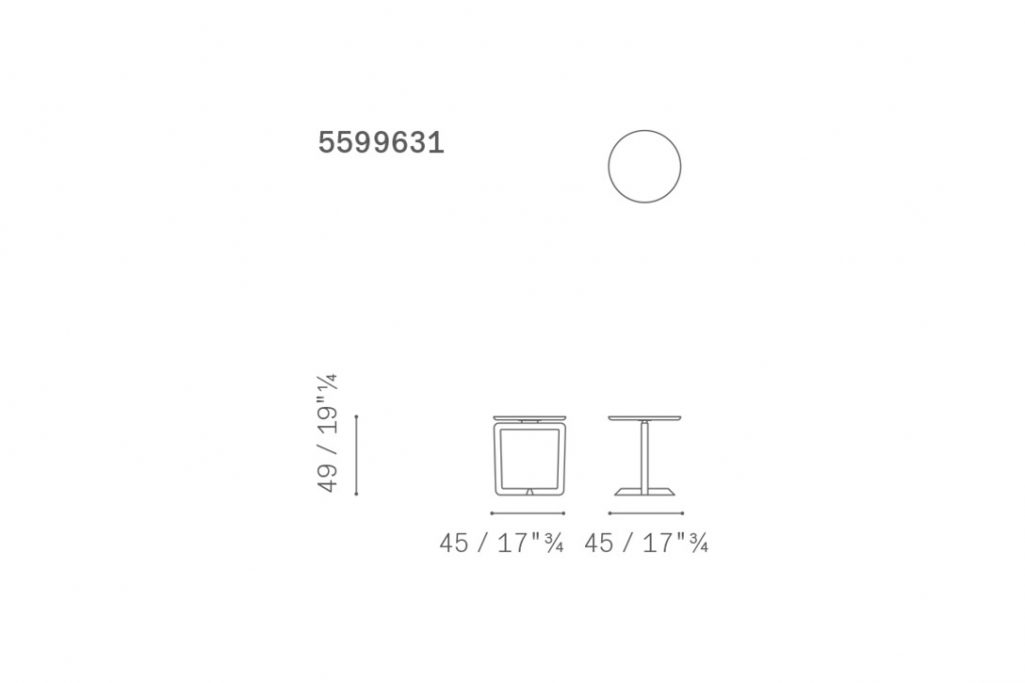 line drawing and dimensions for a poltrona frau fidelio side table round
