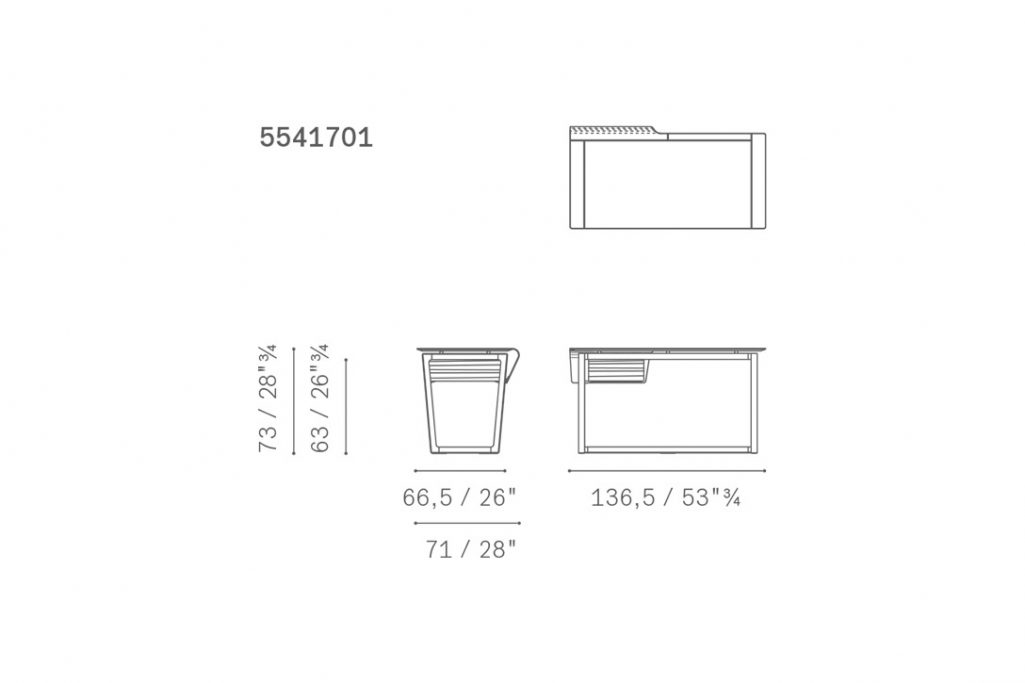 line drawing and dimensions for poltrona frau fred desk