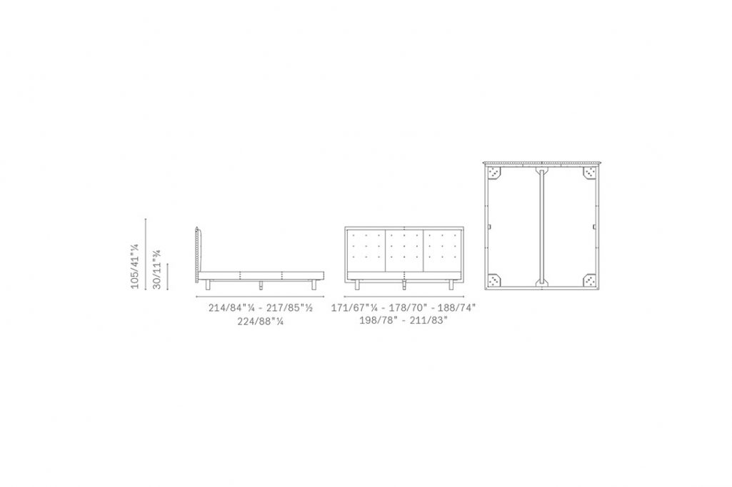 line drawing and dimensions for poltrona frau grantorino coupé bed