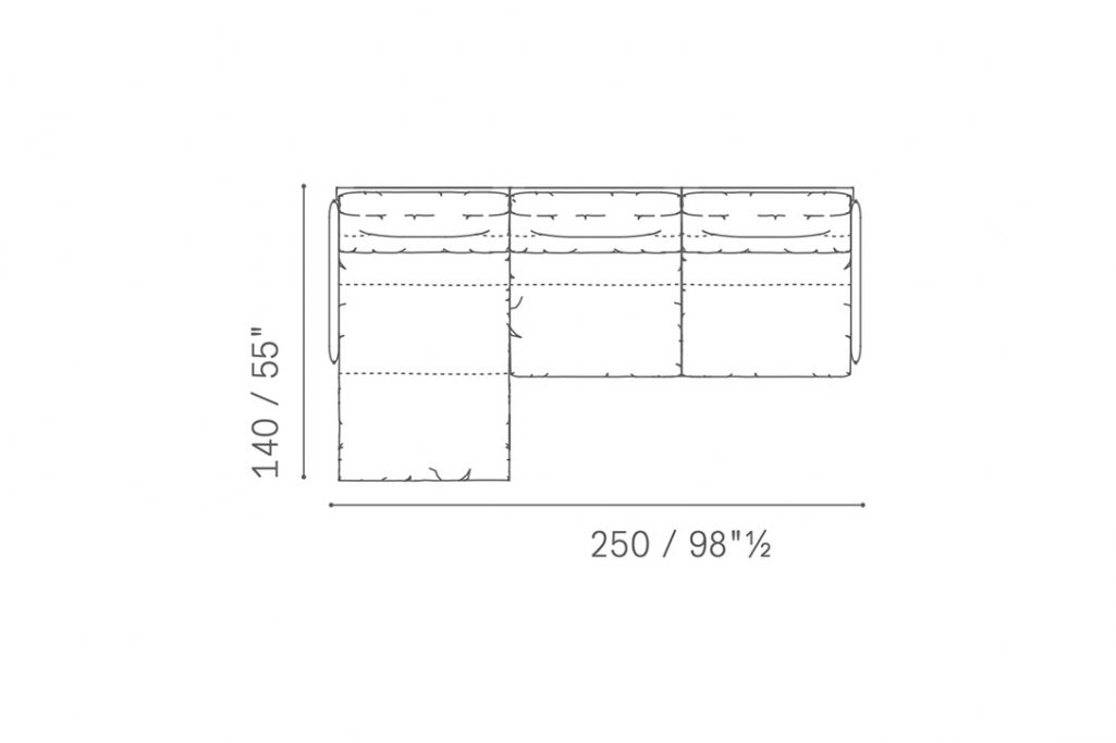 line drawing and dimensions for poltrona frau grantorino chaise left sectional sofa