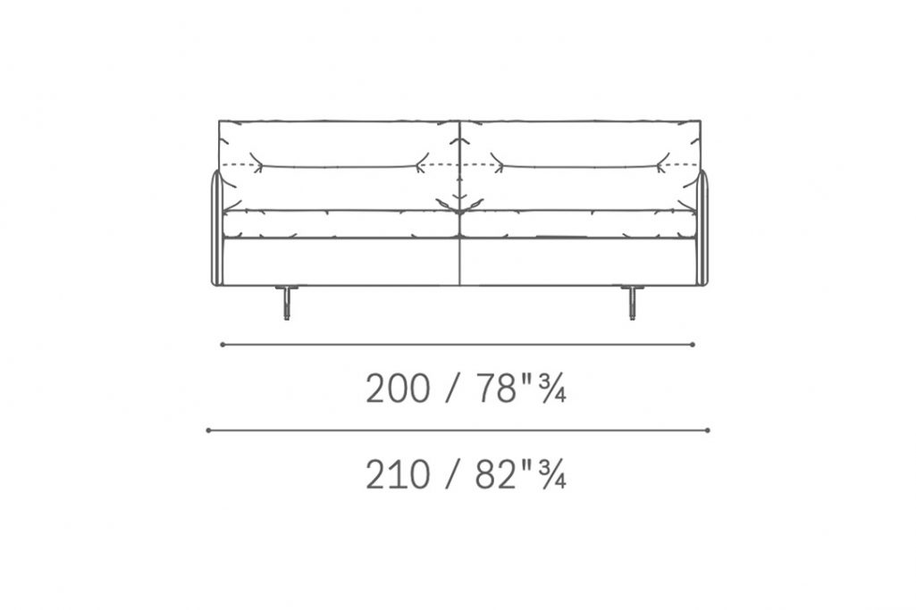 line drawing and dimensions for poltrona frau grantorino large 2-seater sofa