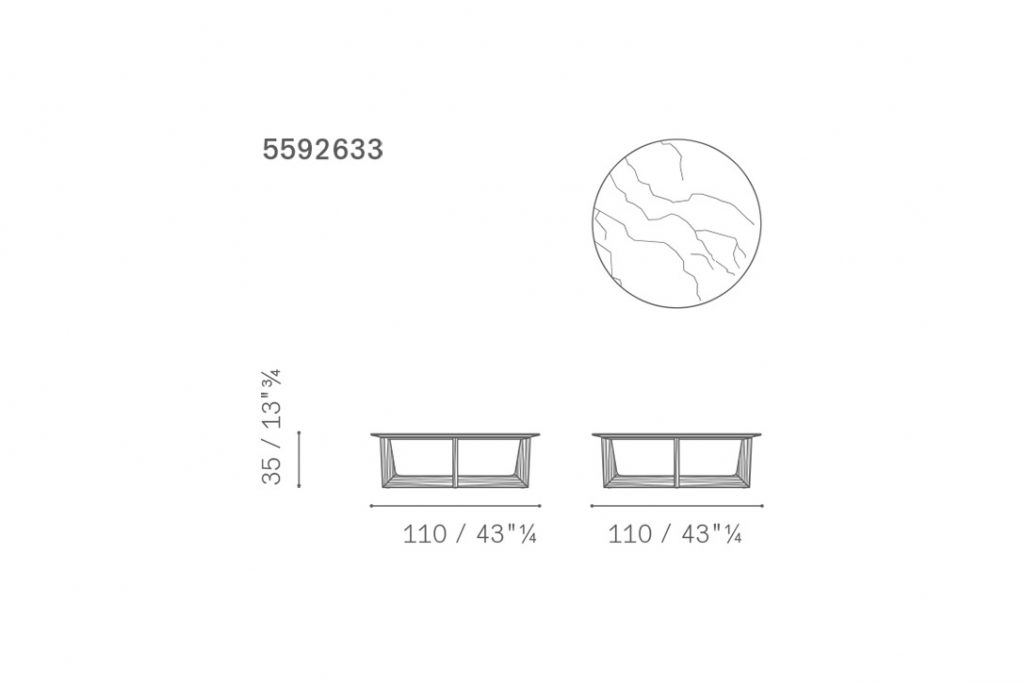 line drawing and dimensions for poltrona frau ilary coffee table