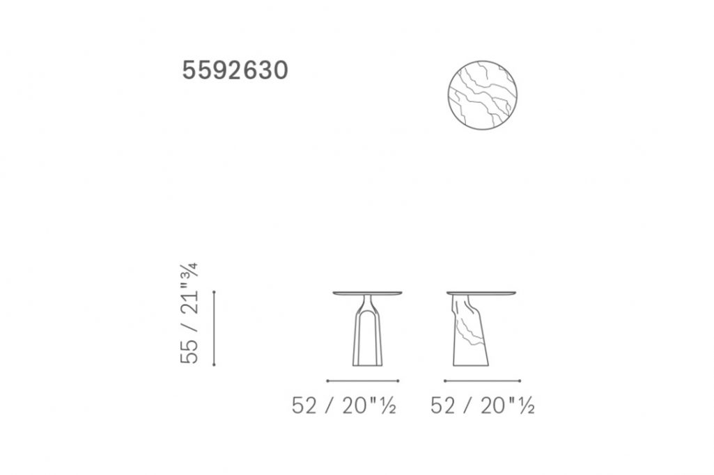 line drawing and dimensions for poltrona frau ilary monolithic side table