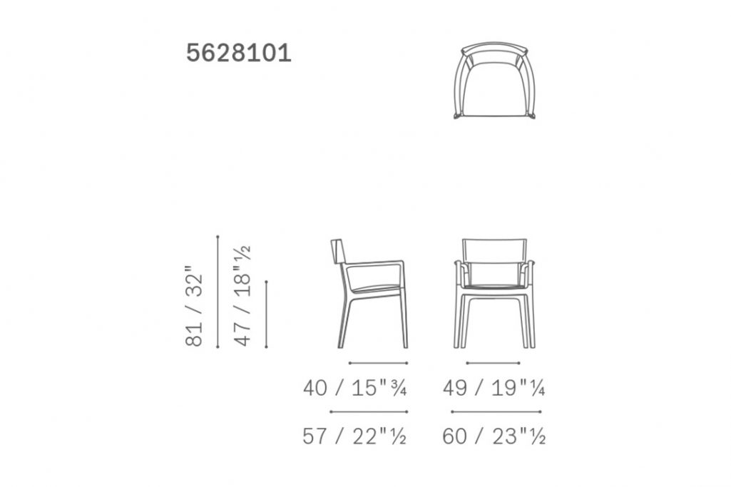 line drawing and dimensions for poltrona frau isadora dining arm chair