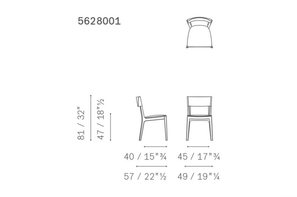 line drawing and dimensions for poltrona frau isadora dining chair