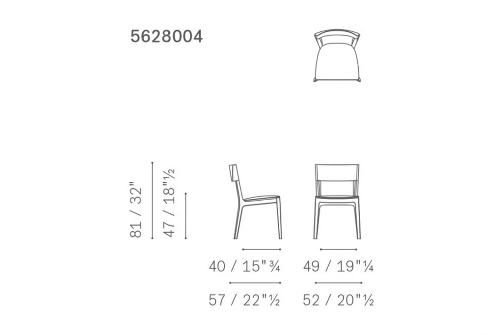 line drawing and dimensions for poltrona frau isadora large dining chair