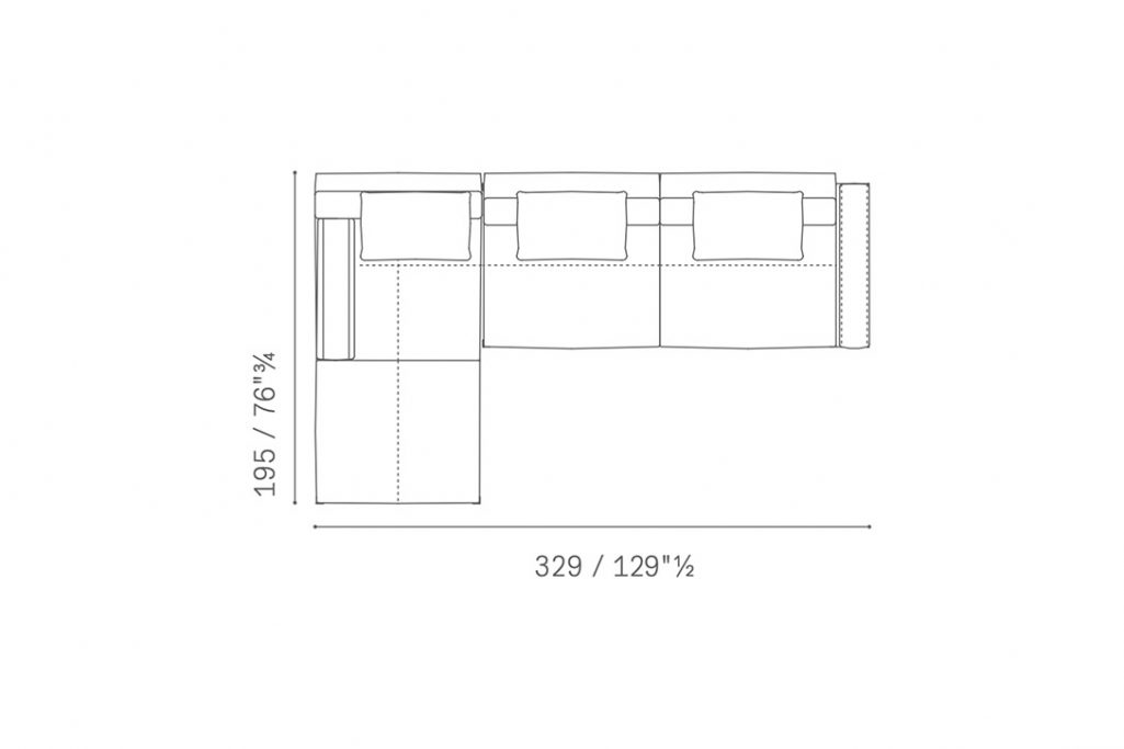 line drawing and dimensions for poltrona frau let it be sectional sofa chaise left