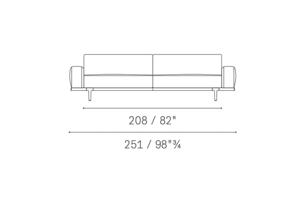 line drawing and dimensions for poltrona frau let it be straight sofa