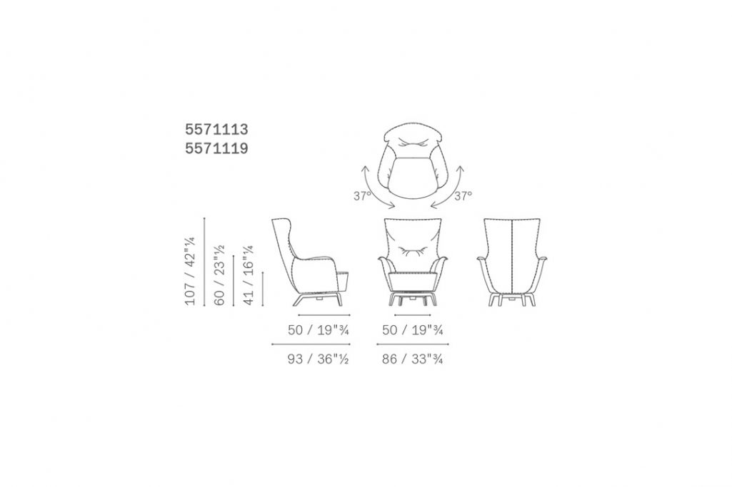 line drawing of a poltrona frau mamy blue armchair with swivel base