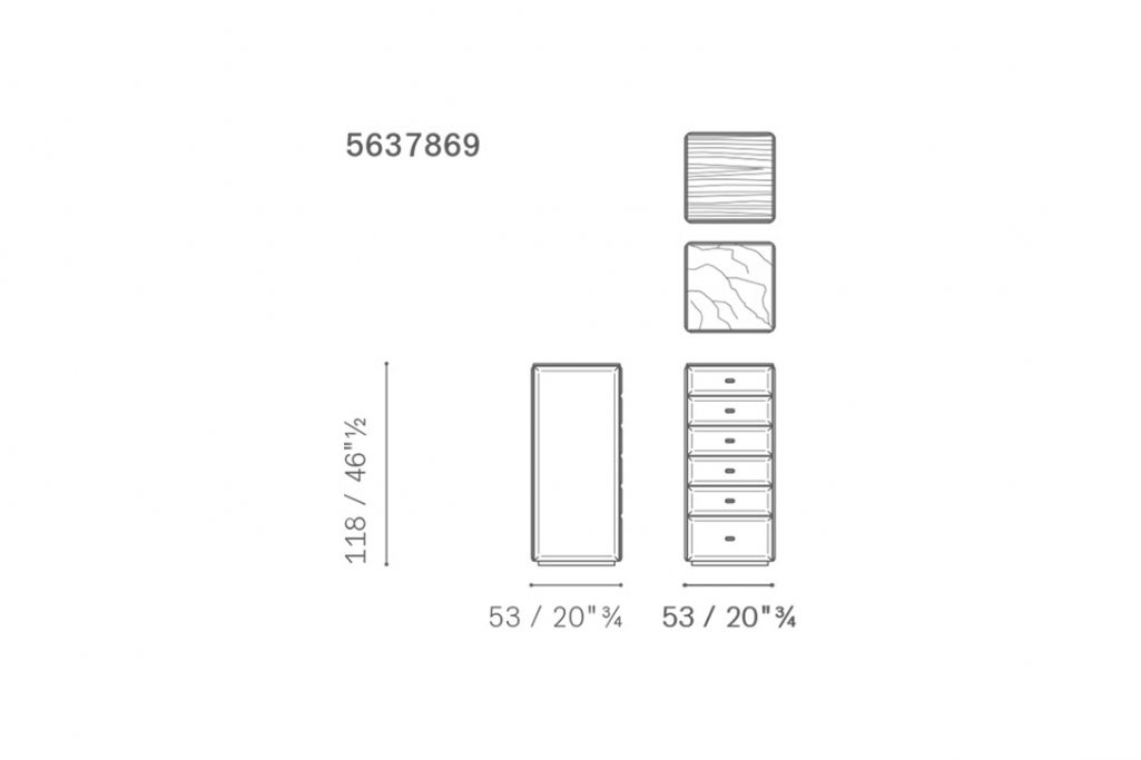 line drawing and dimensions for poltrona frau moondance tallboy/high chest of drawers