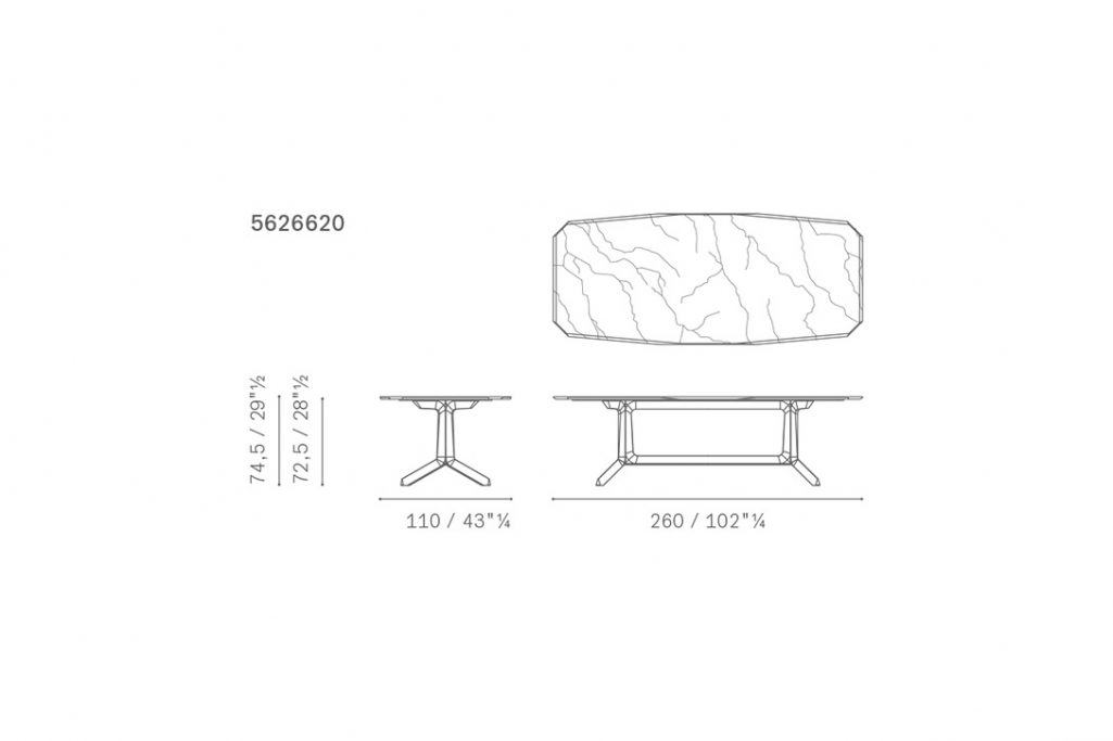 line drawing and dimensions for poltrona frau othello dining table