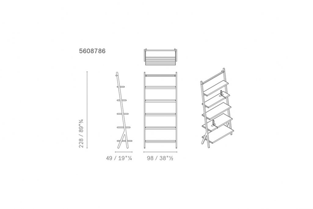 line drawing and dimensions for poltrona frau ren bookcase high
